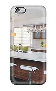 High Quality White Kitchen With Marble Island Amp Bar Stools Plus Subway Tile Backsplash Case For Iphone 6 Plus / Perfect Case