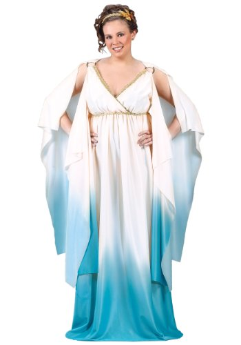 Fun World Plus Size Greek Goddess Costume, Crème/Light Blue, -