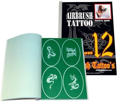 Master Airbrush Brand Airbrush Tattoo Stencils Set Book #12 Reuseable Tattoo Template Set, Book Contains 100 Unique Stencil Designs, All Patterns Come on Vinyl Sheets with a Self Adhesive Backing.