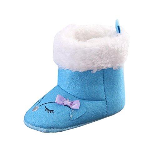 Clode® Winter-weich Sohle Krippe Warm Knopf Wohnungen Boot Kleinkind Stiefel prewalker Schuhe Blau