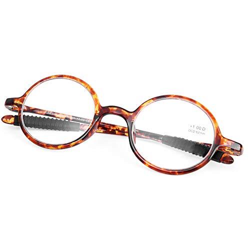 DOOViC Round Reading Glasses Flexible Lightweight Readers Glasses Fashion Design Tortoise for Men & Women +1.00 Strength