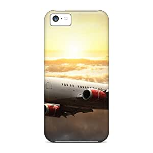 SWHske MAAFETL3017YDxms Case For Iphone 5c With Nice Sky Clouds Sun White Aircraft Fly Appearance