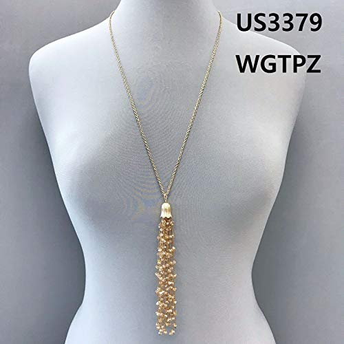 Simple Long Gold Finished Topaz Color Beaded Strings Tassel Pendant Necklace LL-6107