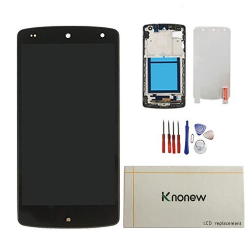 KNONEW Compatible For LG Google Nexus 5 D820 D821 Glass LCD Display Touch Screen Digitizer Assembly Frame Replacement (Black ) (Resolution: 1920x1080)
