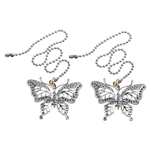 - Saim Ceiling Fan Pull Chain Ornaments Set Extension 12 Inch Light Pull Chains Silver Tone with Butterfly Pendant, Pack of 2