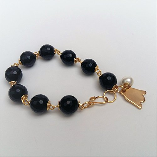 Semi precious stones bracelet. Black Faceted Agate Bracelet wrapped by hand with 14K gold filled wire. Italian 24K gold plated tulip charm and pearl. Elegant, unique and casual bracelet. Perfect ()