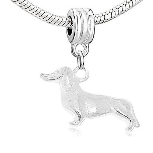 Dog Akita Charm - Dachshund Dog Dangle Charm Bead for Snake Chain Charm Bracelet