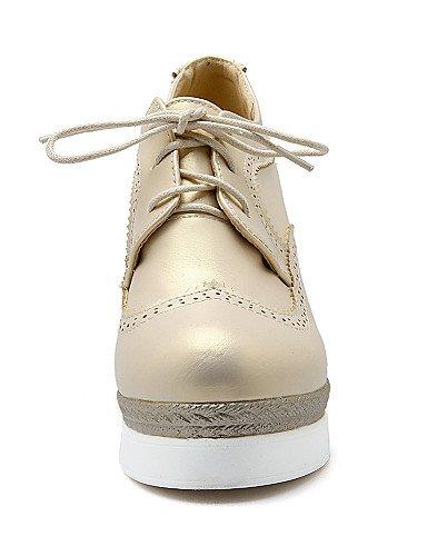 Njx Hug Damen Schuhe Kunstleder Keilabsatz Keile Keile Keile Heels Casual Schwarz Weiß Gold B01KHBRJZU Schnürhalbschuhe Sorgfältig ausgewählte Materialien 9e2622