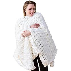 "ACARPO Chunky Knit Blanket Handwoven Wool Yarn Knitting Throw Bed Sofa Super Warm Home Decor White 24""x24"""