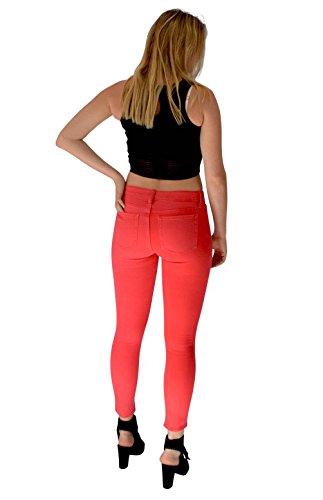 Ritagliata a vita aderenti color con donna a Jeans lunghezza corta Rosso pastello da alta gamba stretta IBqxPBgwt