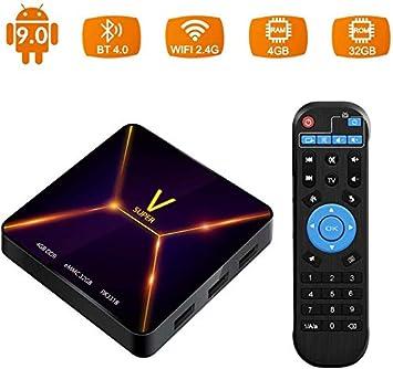 Android 9.0 TV Box, Super V TV Box 4GB RAM / 32GB ROM Rockchip 3318 Soporte Quad-Core 2.4GHz WiFi BT4.0 3D 4K HDMI DLNA 3D Smart TV Box: Amazon.es: Electrónica