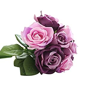 ZTTONE DIY 9 Heads Artificial Silk Fake Flowers Leaf Rose Wedding Floral Decor Bouquet (Purple) 16