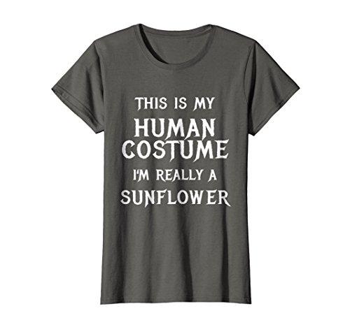 Womens I'm Really a Sunflower Costume Halloween Shirt Idea Medium Asphalt