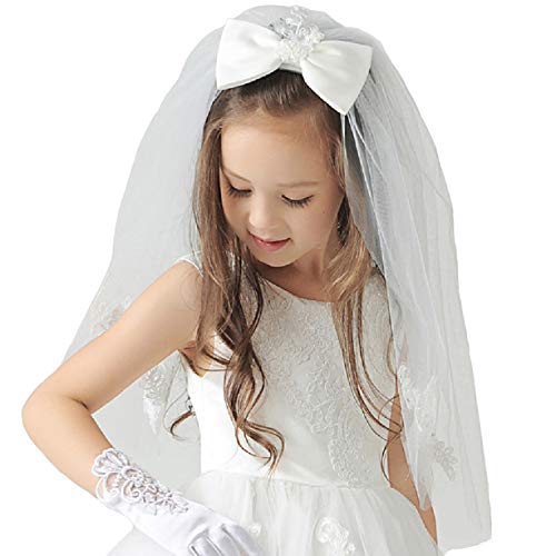 Elesa Miracle Flower Girl Bow Embroidered Wedding Veil, Ivory, In Gift Box ()
