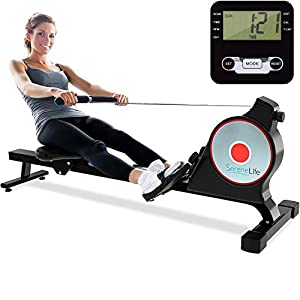 Well-Being-Matters 41mL0SxE6DL._SS300_ SereneLife Magnetic Rowing Machine with Bluetooth App Fitness Tracking – Foldable Home Gym Exercise Rower with…