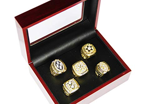GF-sports store Dallas Cowboys Supper Bowl Championship Rings Display Box Full Set Replica (Yellow)