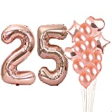 25th Birthday Decorations Party Supplies,25th Birthday Balloons Rose Gold,Number 25 Mylar Balloon,Latex Balloon Decoration,Great Sweet 25th Birthday Gifts for Girls,Photo Props
