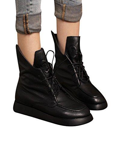 Cuir Noir Youlee Bottes Talon Femmes Martin Hiver Caché Chaussures Lacer 4XwPnqvXx