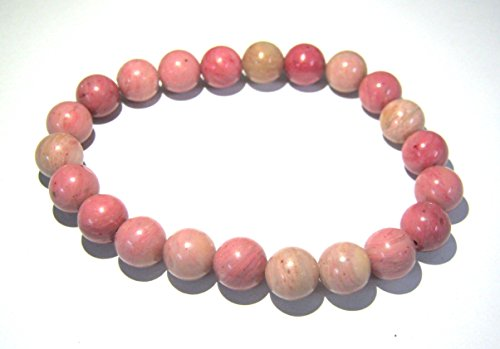 (CRYSTAL MIRACLE BEAUTIFUL 8 MM RHODONITE GEMSTONE POWER BEADED BRACELET CRYSTAL HEALING MEN WOMEN GIFT FASHION WICCA JEWELRY MEDITATION HEART CHAKRA HEALTH WEALTH HANDCRAFTED ACCESSORY CONFIDENCE LOVE)