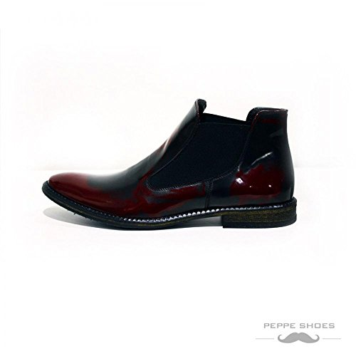 Modello Catania - Handgemachtes Italienisch Leder Herren Burgund Stiefeletten Chelsea Stiefel - Rindsleder Lackleder - Schlüpfen