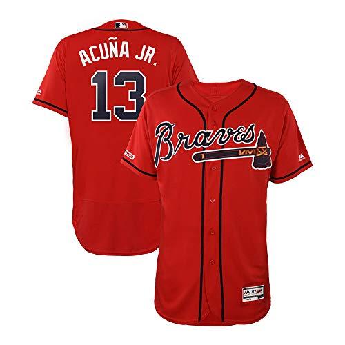 VFs Men's Atlanta Braves Ronald Acuña Jr #13 Flex Base Player Red Alternate Jersey (Red, ()