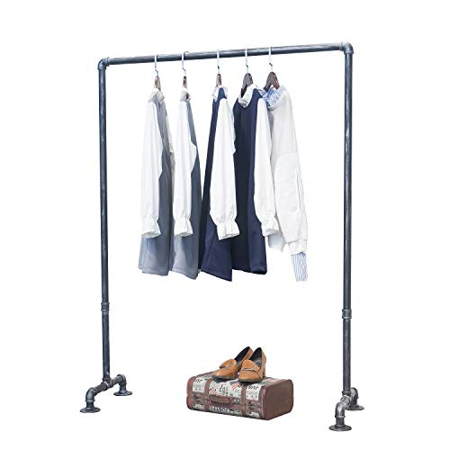 MBQQ Industrial Pipe Clothing Rack,Vintage Commercial Grade Pipe Clothes Racks,Rolling Rack for Hanging Clothes Retail Display,Heavy Duty Steampunk Iron Garment Racks