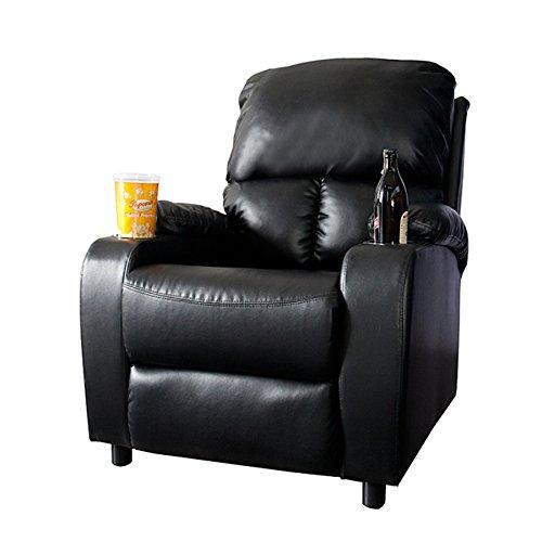 Eleganter Kinosessel HALL OF FAME schwarz mit Cupholder Sessel Polstersessel Wohnzimmer verstellbar mit Becherhalter
