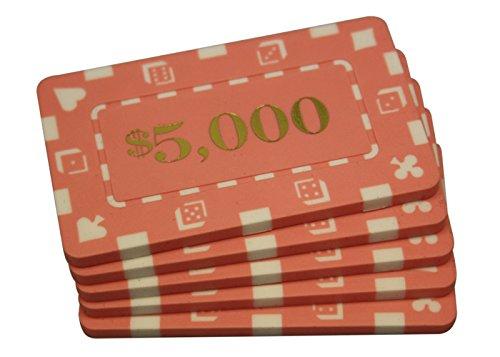 5 Pcs Denominated Rectangular Poker Chips Plaques $5000 Pink