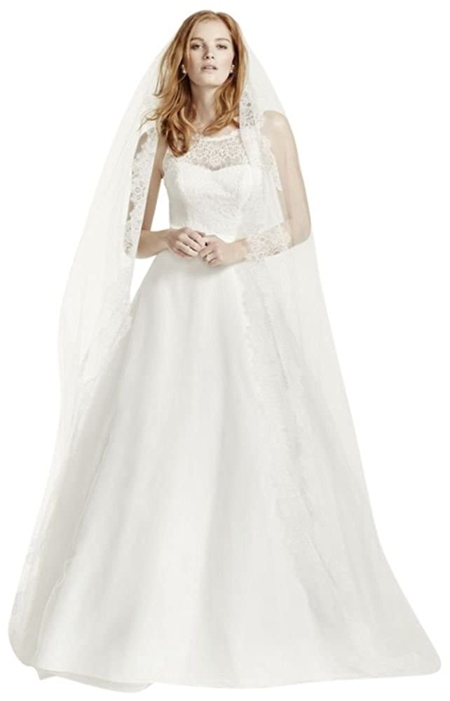 Illusion Lace Tank Wedding Dress With Tulle Skirt Style Wg3711 At