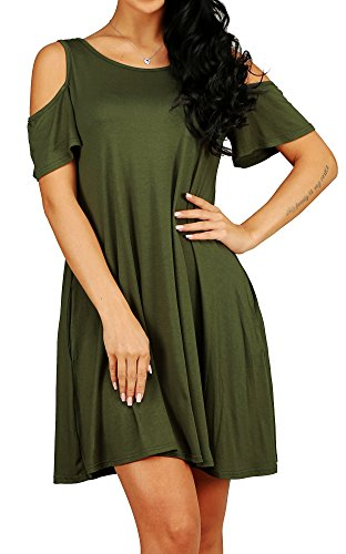 Round Neck Cold Shoulder Short Sleeve Shift Dress for Women Army Green L ()