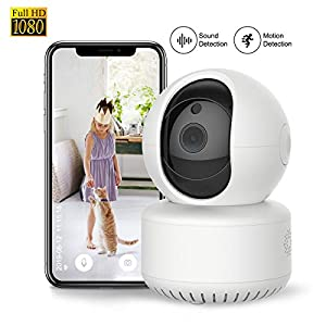 1080P WiFi Pet Camera FHD Indoor Wireless Surveillance Security IP Camera with Motion Detection Night Vision 2-Way Audio Cloud Storage for Baby/Elder/Pet Monitor with Camera Dome Surveillance Cameras