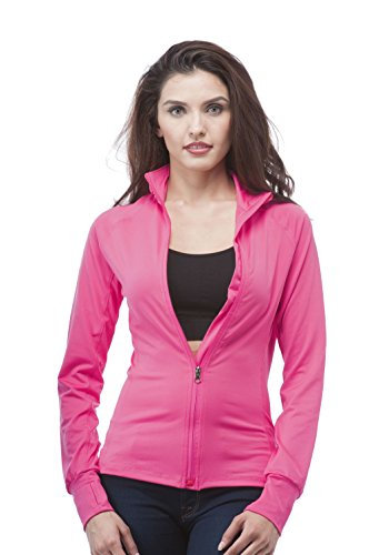 Hot Pink Jacket (Long Sleeve Zip up Athletic wear sweater jacket (Medium, Hot Pink))