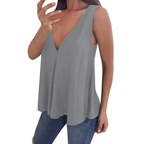 ANJUNIE Womens V Neck Sleeveless Summer Vest Blouse Plus Size Tunic for Leggings Swing Flare Tank Tops(Gray,L)