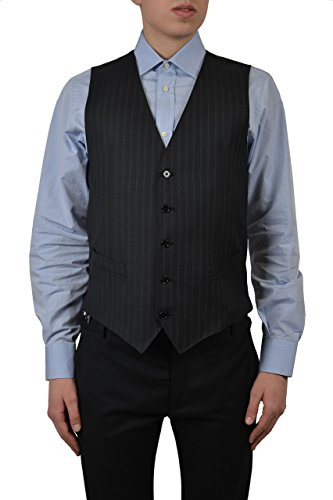 Dolce & Gabbana 100% Wool Men's Dark Gray Striped Button Down Vest US 34 IT 44 ()