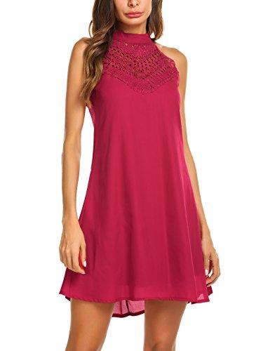 - Sweetnight Womens Halter Neck Chiffon Tunic Tank Dress T Shirt Dresses (Red#3, XL)