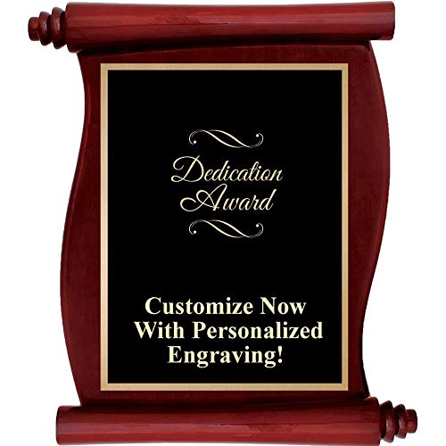 Engraved Rosewood Plaque - Custom Engraved Rosewood Scroll Plaques, Personalized Dedication Award Plaque with Up to 5 Lines of Engraving Included Prime
