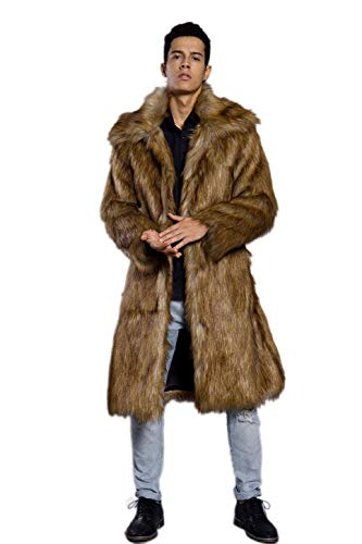 Old DIrd Men's Long Sleeve Fluffy Faux Fur Warm Coat Outerwear N02 Gold L