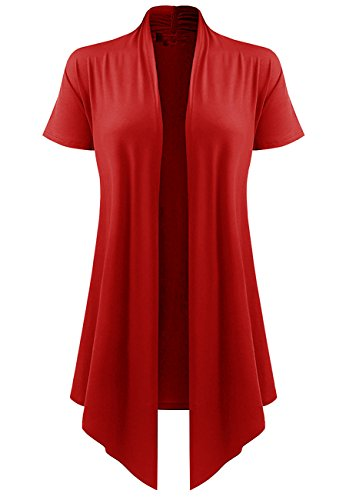 lymanchi Womens Lightweight Draped Opent Front Short Sleeve Soft Casual Cardigan 88 Red 2X -