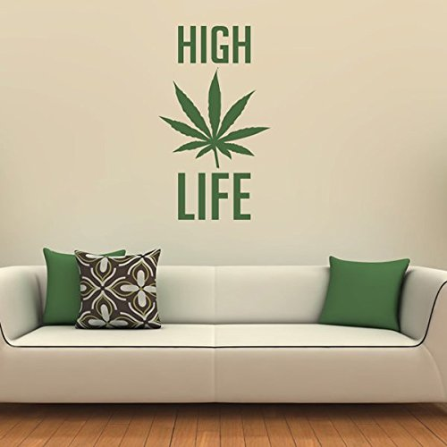 Azutura Hohes Leben Wandtattoo Cannabis-Unkraut-Zitat Wand Wand Wand Sticker Schlafzimmer Haus Dekor verfügbar in 5 Größen und 25 Farben Mittel Gras Grün B00E2YI7VY Wandtattoos & Wandbilder 10c53f