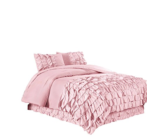 (Chezmoi Collection Ella 3-Piece Ruffle Waterfall Comforter Set (Full,)