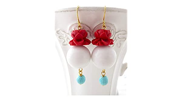 joyas para mujer joyas modernas pendientes verano pendientes largos joyas de cinabrio jade blanca y turquesa joyas de fiesta Pendientes flores rojos