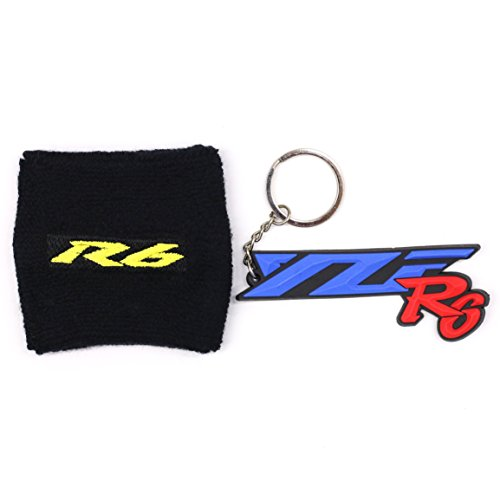 Keychain Logo Helmet (MOCO Motorcycle R6 Black Fluid Brake Reservoir Sock Cover with Free Gift KeyChain,Key Ring,Fit for Yamaha YZF-R6, R6)
