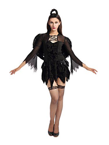Leright Women's Costumes Halloween Cosplay Angel Dress Costume, Black, M(US SIZE (This Is The End Halloween Costumes)