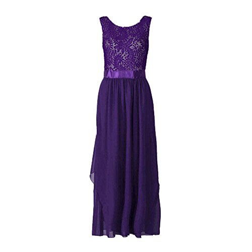 Chiffon Elegant Birdfly Hollow Maxi Sleeveless Size Purple Plus Long Lace 2L Swing Chest Dress Women's Backless vv5qgr