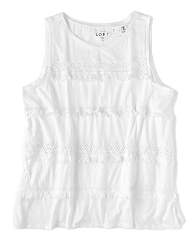 Ann Taylor Loft Womens   Crisp White Tiered Fringe Tank Top  X Large