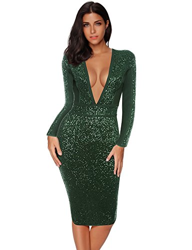Meilun Bandage Deep Plunge Dress Evergreen Sequin Party Club Dress (Green, M)