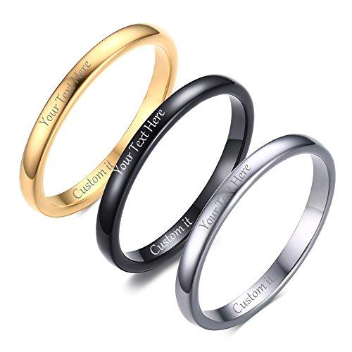VNOX Free Custom Engraving-2mm Women's Tungsten Carbide Plain Thin Band Wedding Ring,Black,Size (Black Date Ring)