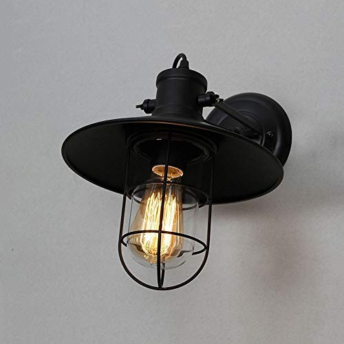 - Yaione American Metal Iron Art Lantern Wall Lamp Personality Iron Art Lampshade Suitable for Garden Patio Park Square Wall Light Rural Mediterranean E27 Wall Sconce Length: 270mm