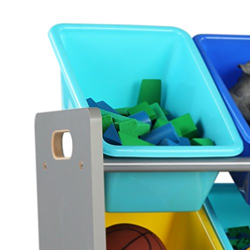 41mL5lad1cL - Tot Tutors WO498 Elements Collection Wood Toy Storage Organizer, X-Large, Grey/Blue/Green/Yellow