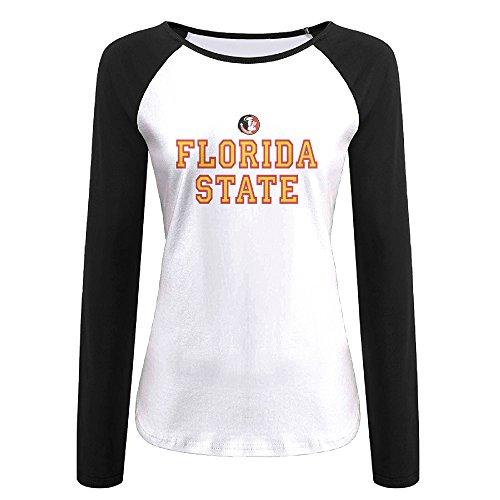 Eagle License State Plate - Creamfly Womens Florida State University Seminole Head Long Sleeve Raglan Baseball Tshirt M